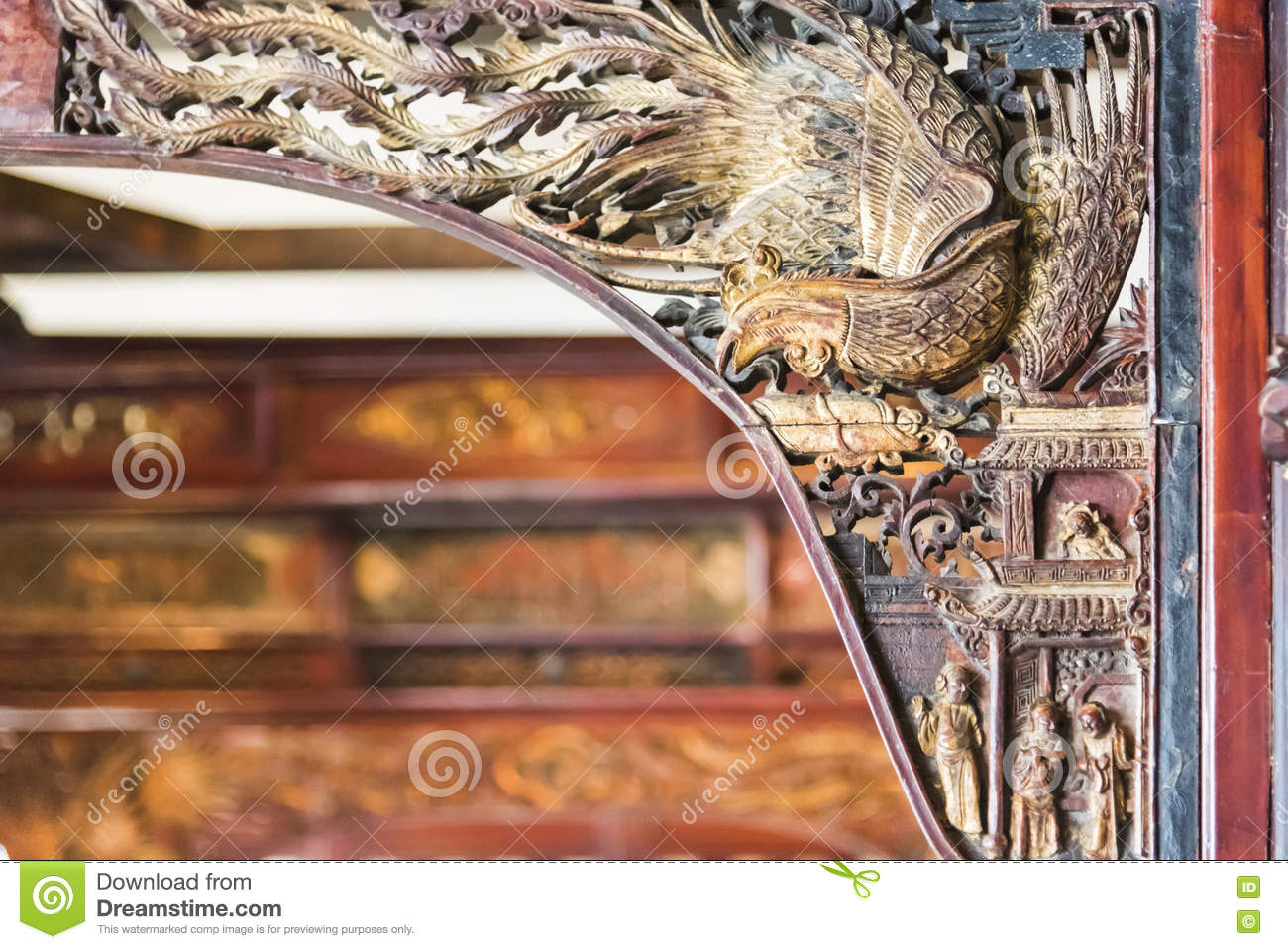 Wood carvings on the wooden bed stock photo image of culture