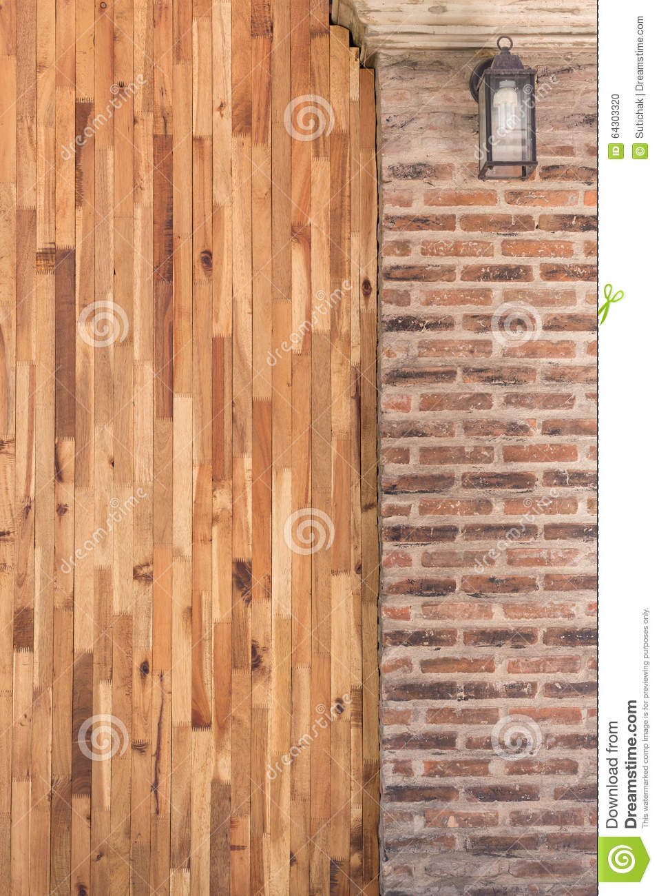 Wood and cement brick wall design of interior stock photo for Brick and wood home designs