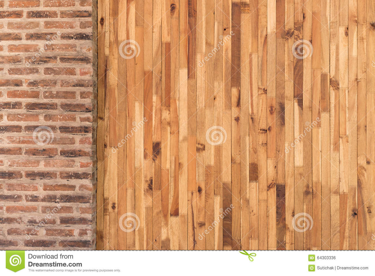 wood and cement brick wall design of interior stock photo image 64303336. Black Bedroom Furniture Sets. Home Design Ideas