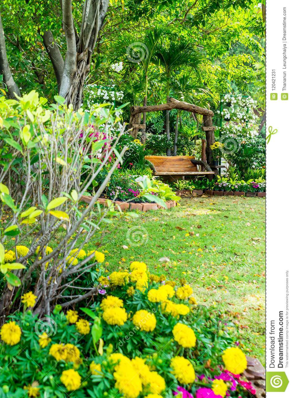Wood Chair In The Flowers Garden Stock Image Image Of House