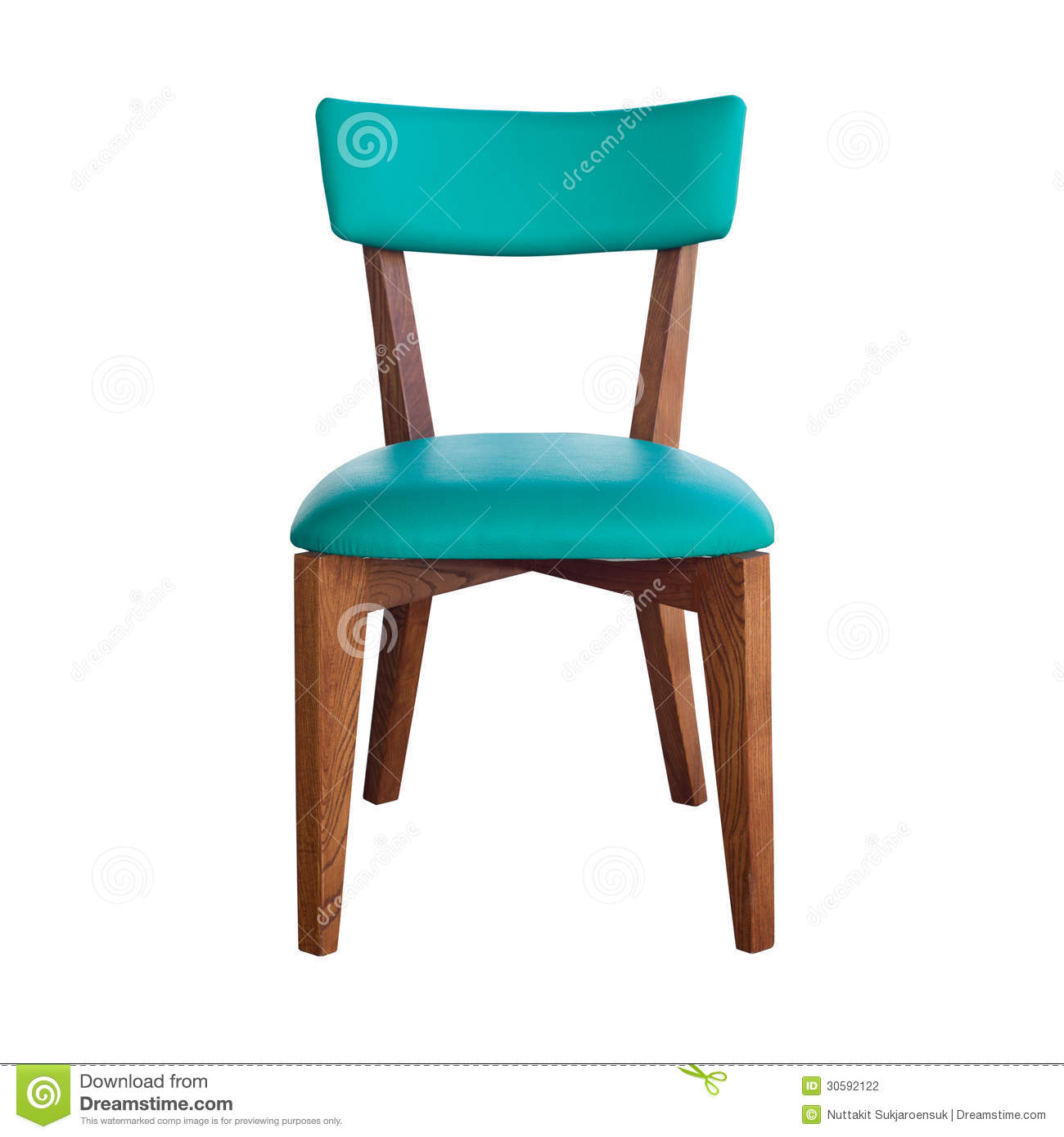 wood chair green leather isolated with path stock
