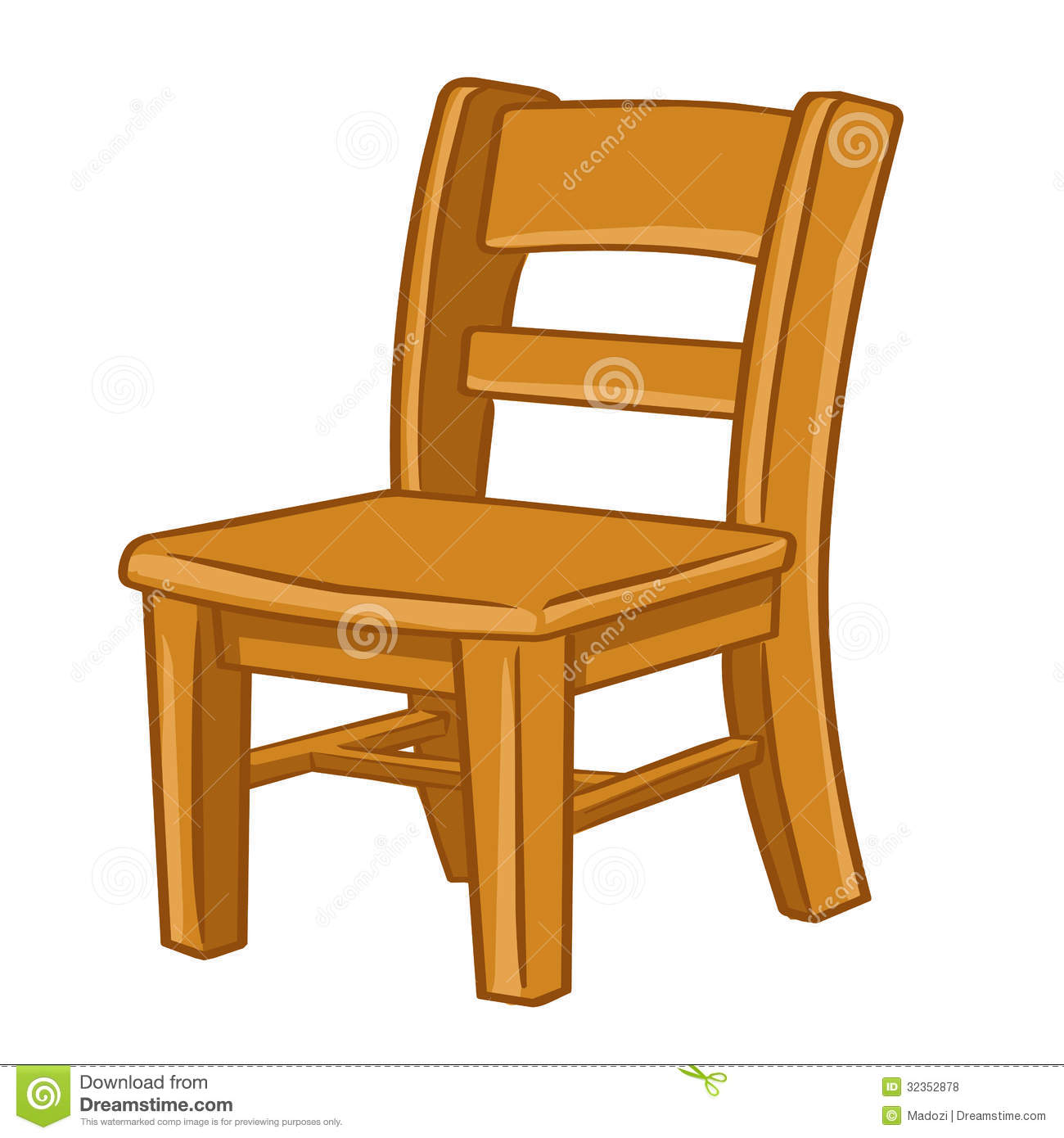 Wood chair isolated illustration royalty free stock photos