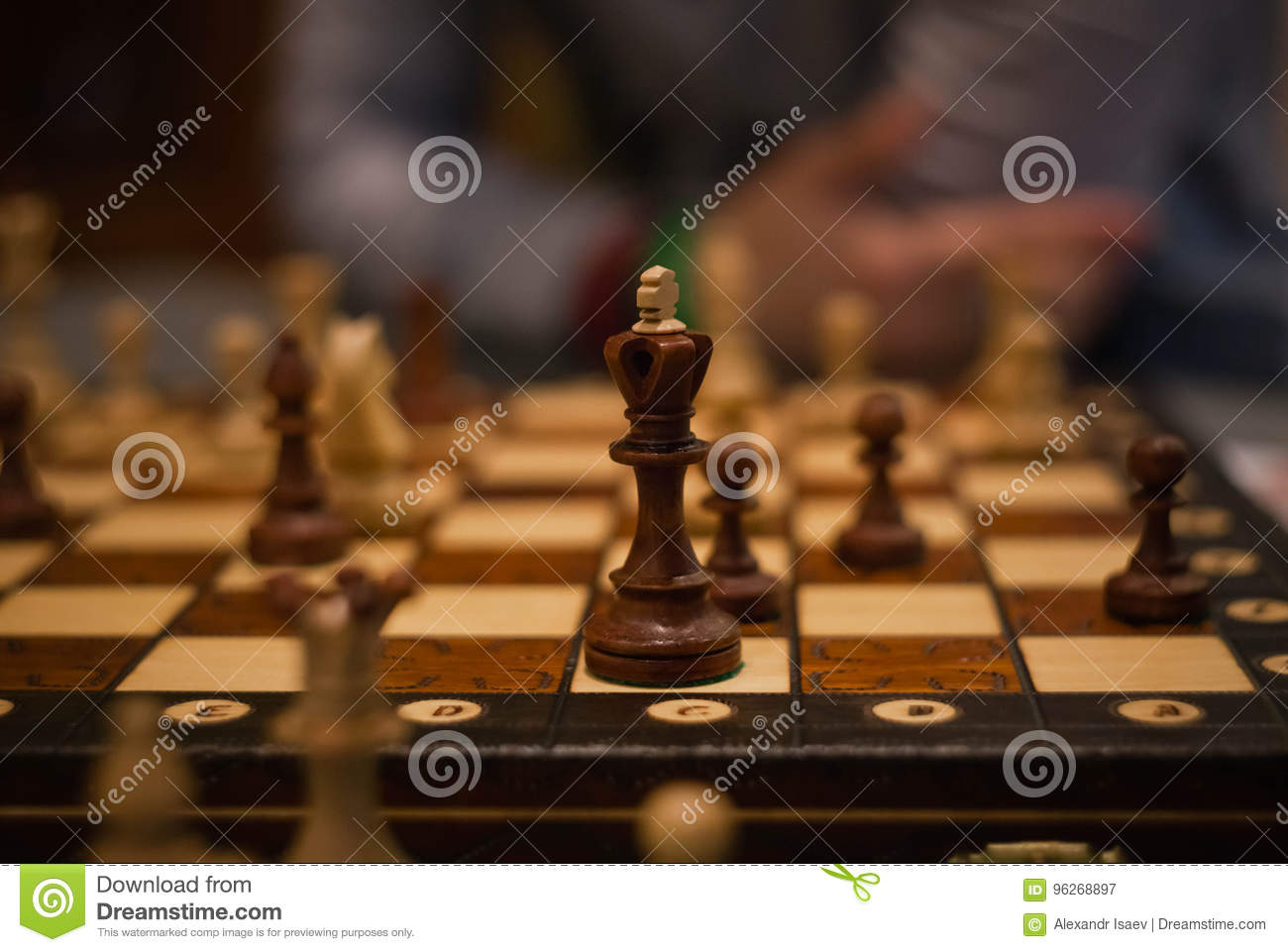 Wood Chess Pieces On Board Game Brown Vintage Background