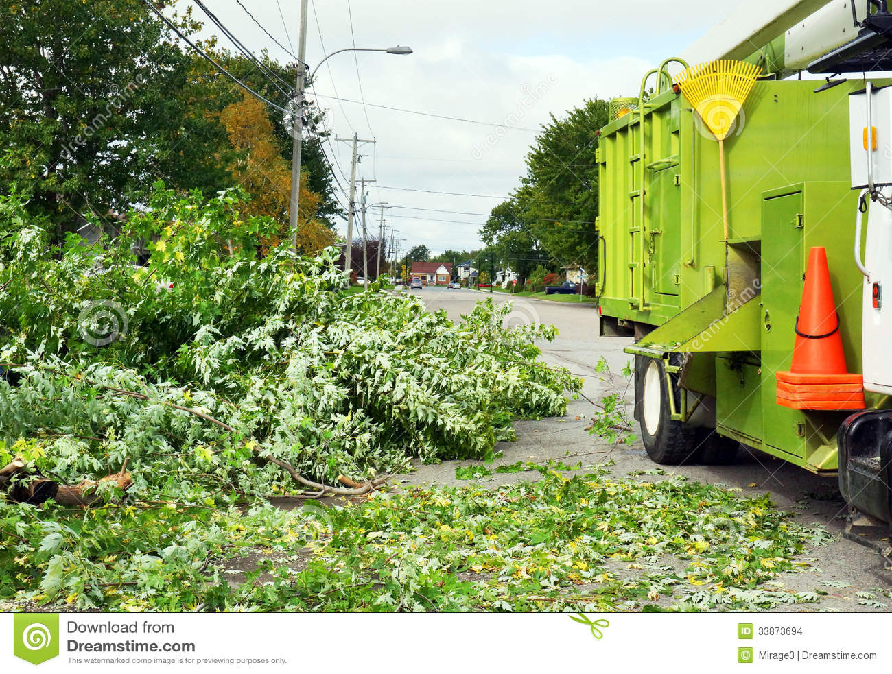 Wood chipper truck stock photo image of leaves tool for Gardening contractors