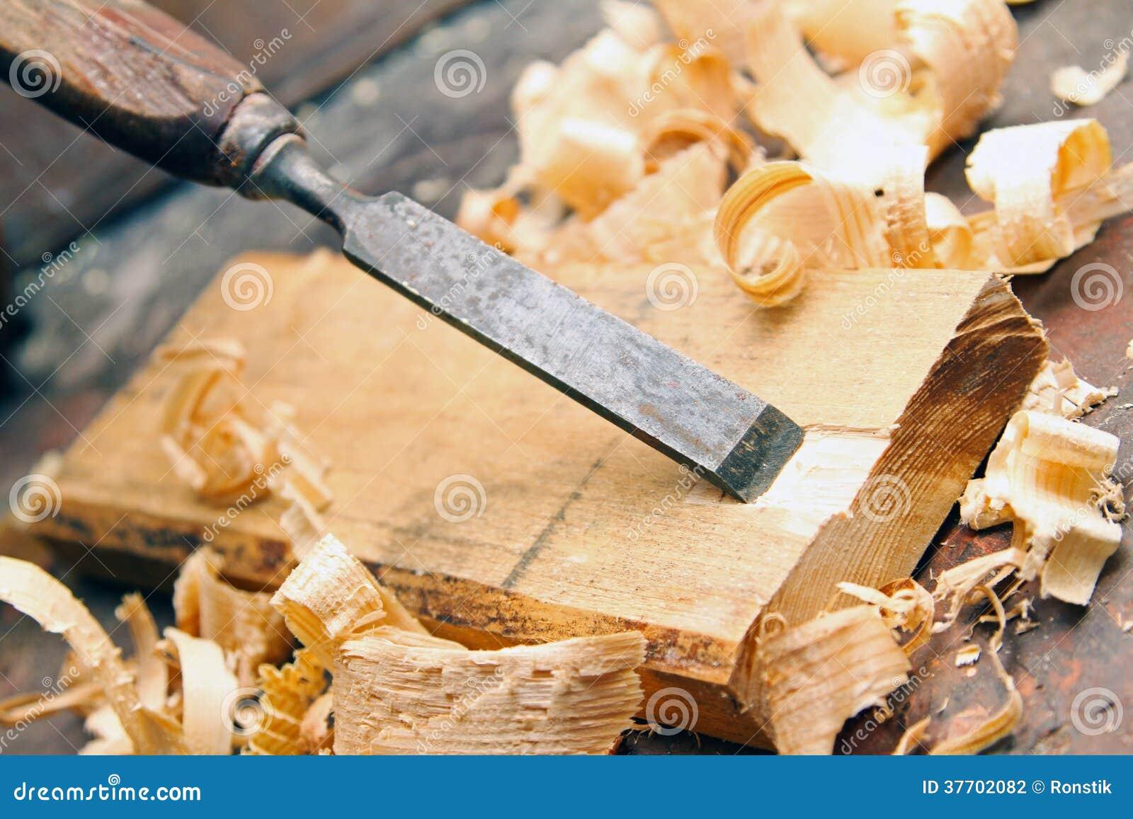 Wood Chisel - Vintage Carpentry Woodworking Workshop Stock Photography ...