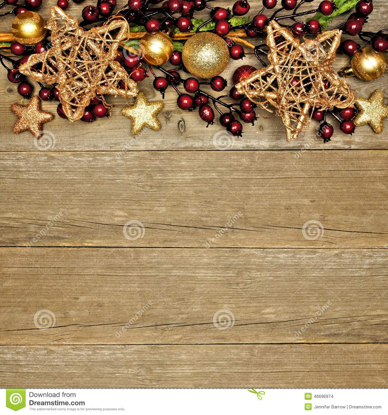 Wood Christmas Background With Star Border Stock Photo ...