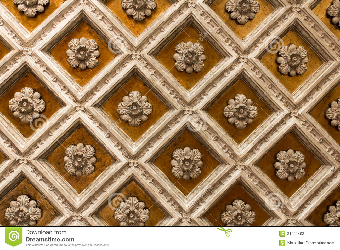 Wood Coffered Ceiling Stock Image Image Of Building