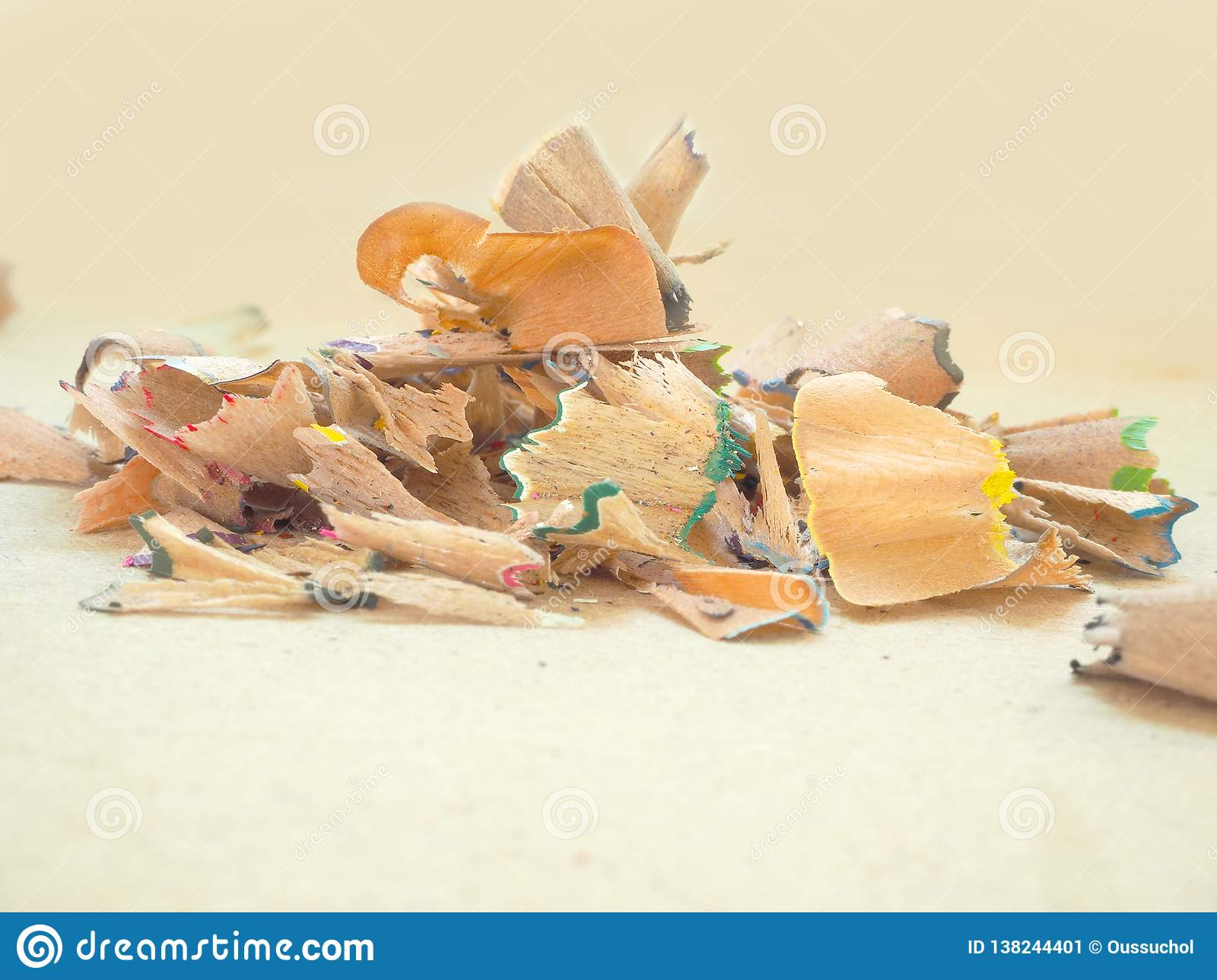 Wood Color Pencils Shaving Scrap Stock Image Image Of Small