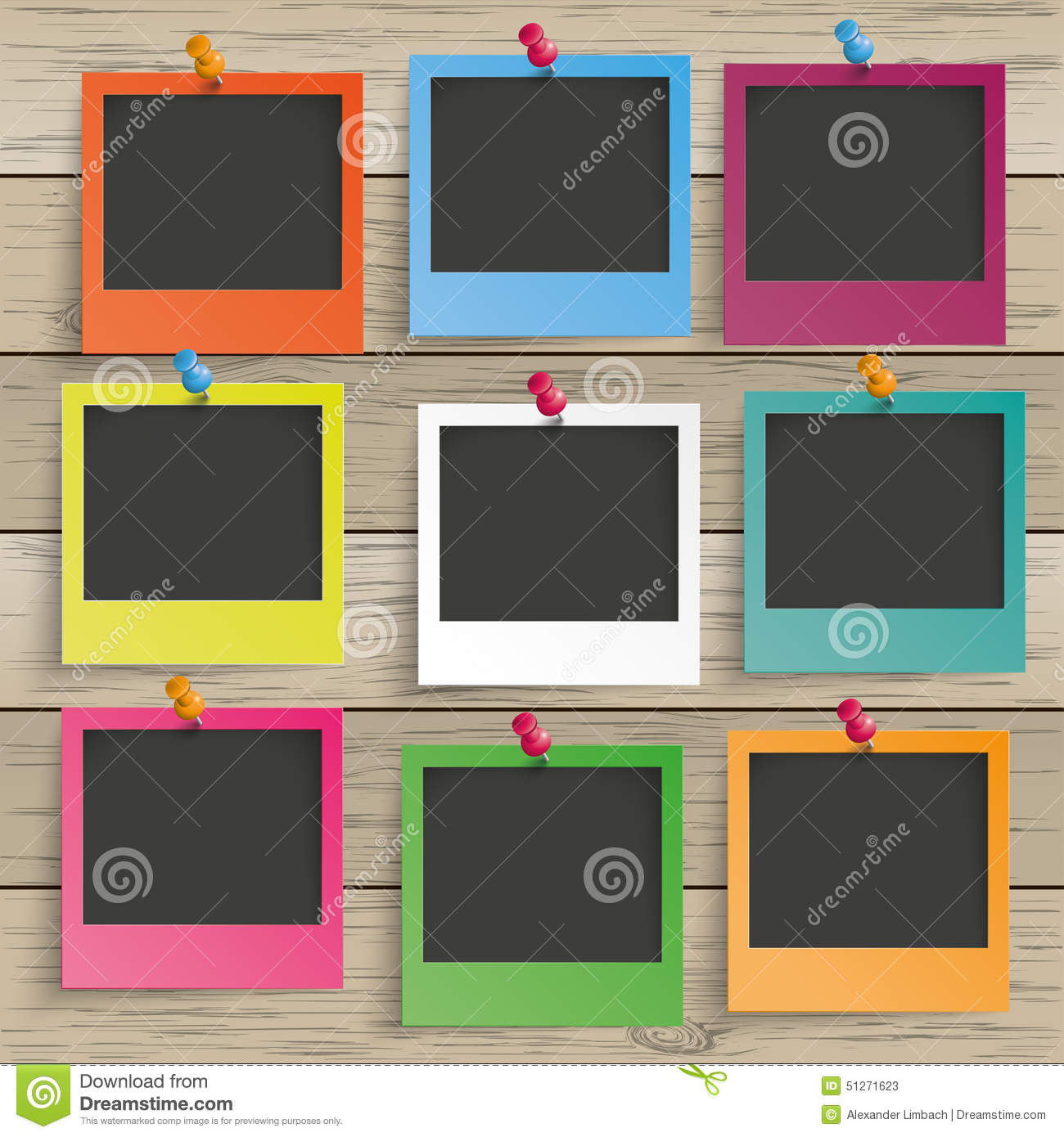 wood 9 colored photo frames