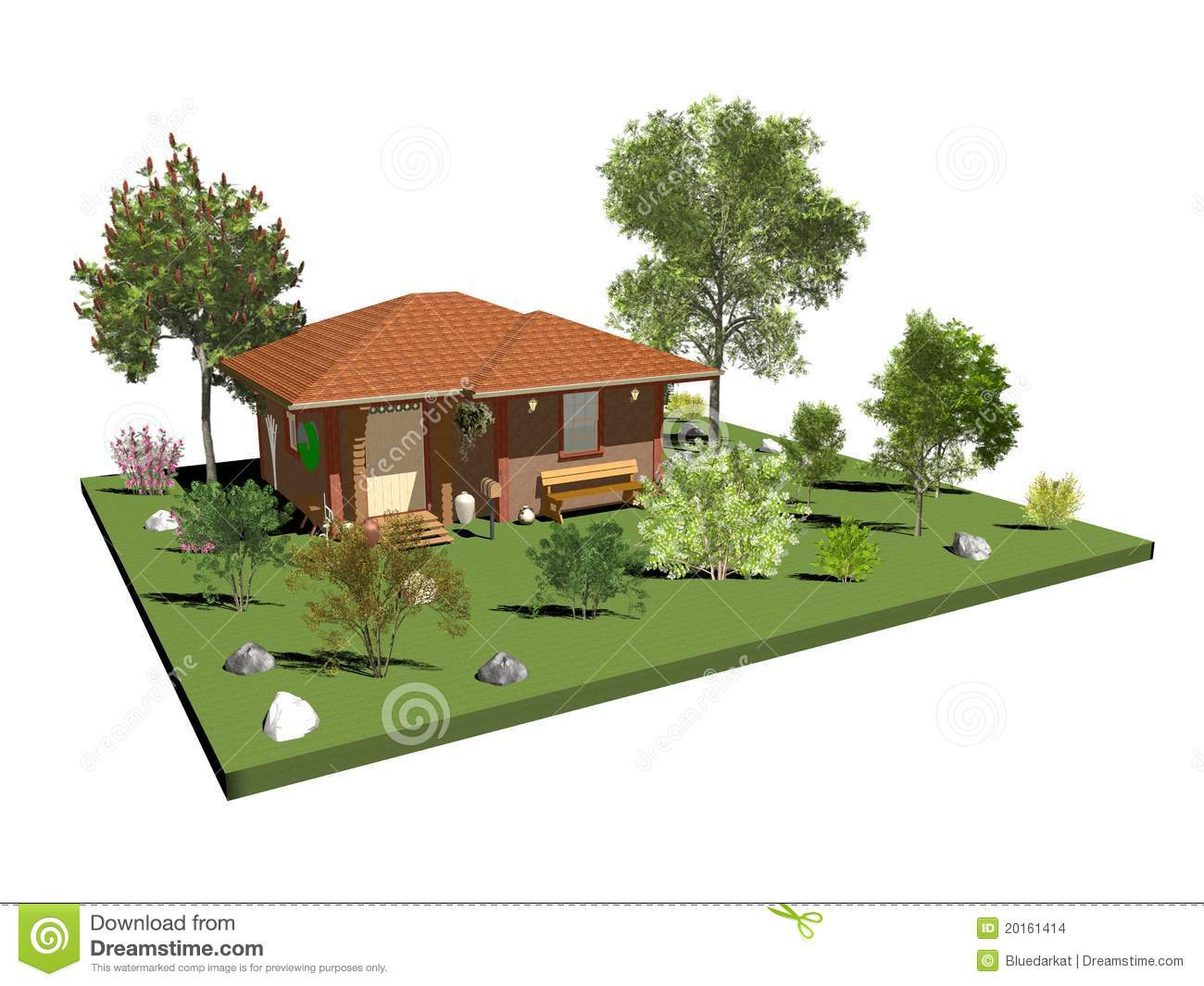 Wood Country House With Garden And Trees Stock Images ...