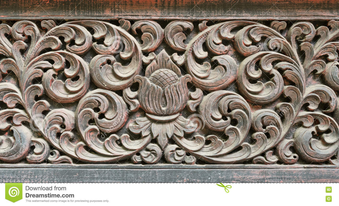 Wood Craft Thai Classic Pattern Stock Photo Image Of East Design