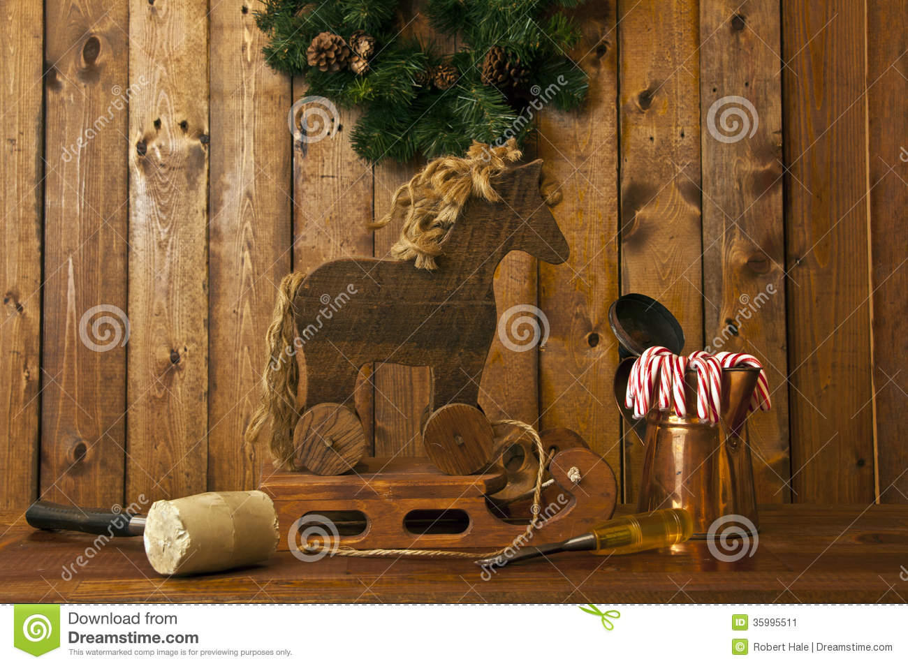 ... and horse with rustic wood background and candy canes in foreground