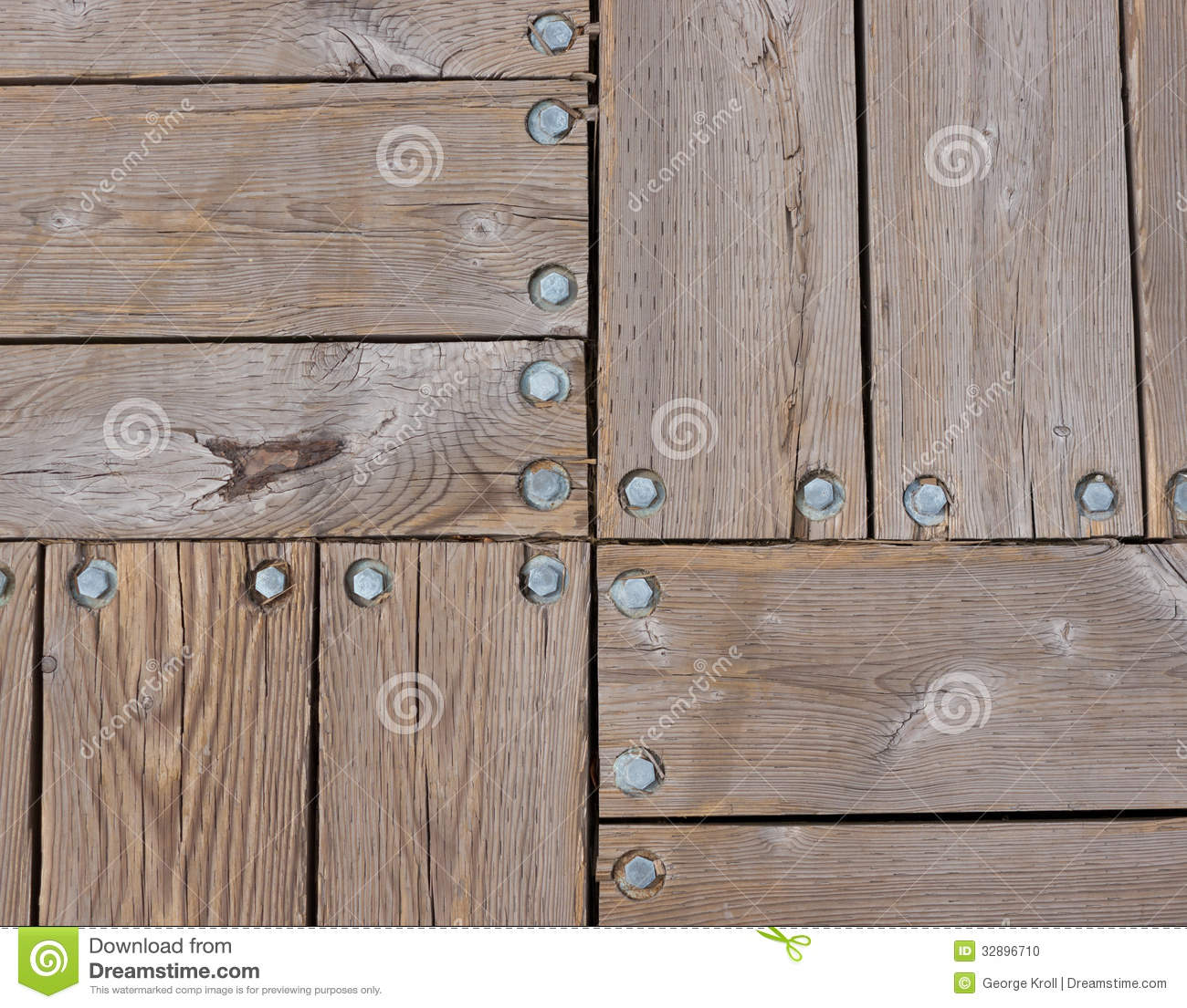 Wood deck and bolts pattern stock photo image