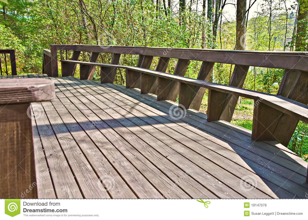 Wood deck design with bench stock image image 19147079 for Wood deck designs pictures