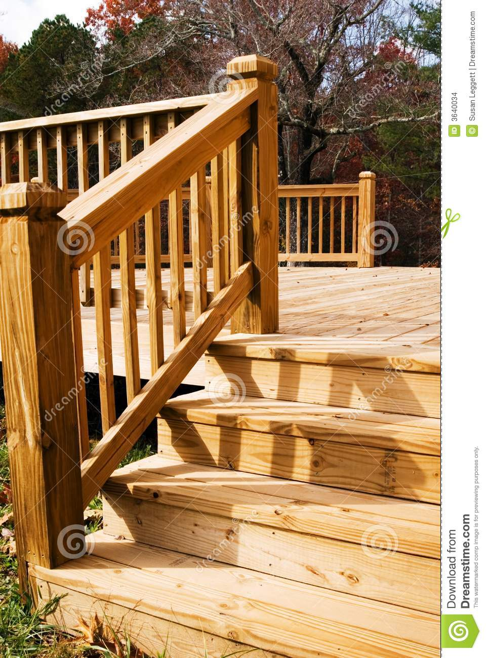 Wood Deck In Fall Stock Photo Image Of Autumn Angle