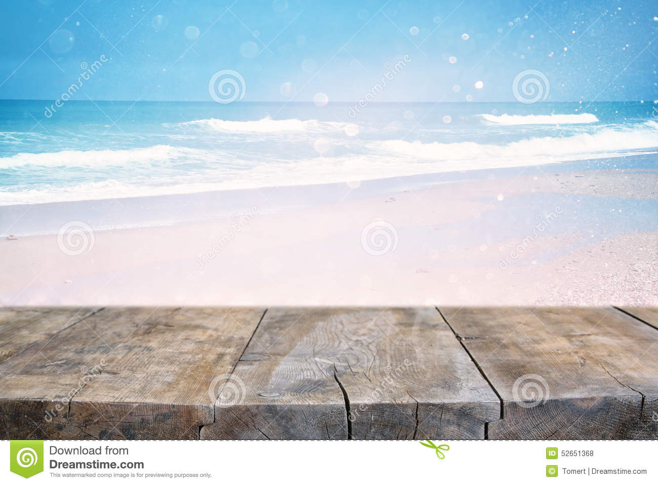 Wood deck in front of abstract sea landscape. ready for product display. textured image