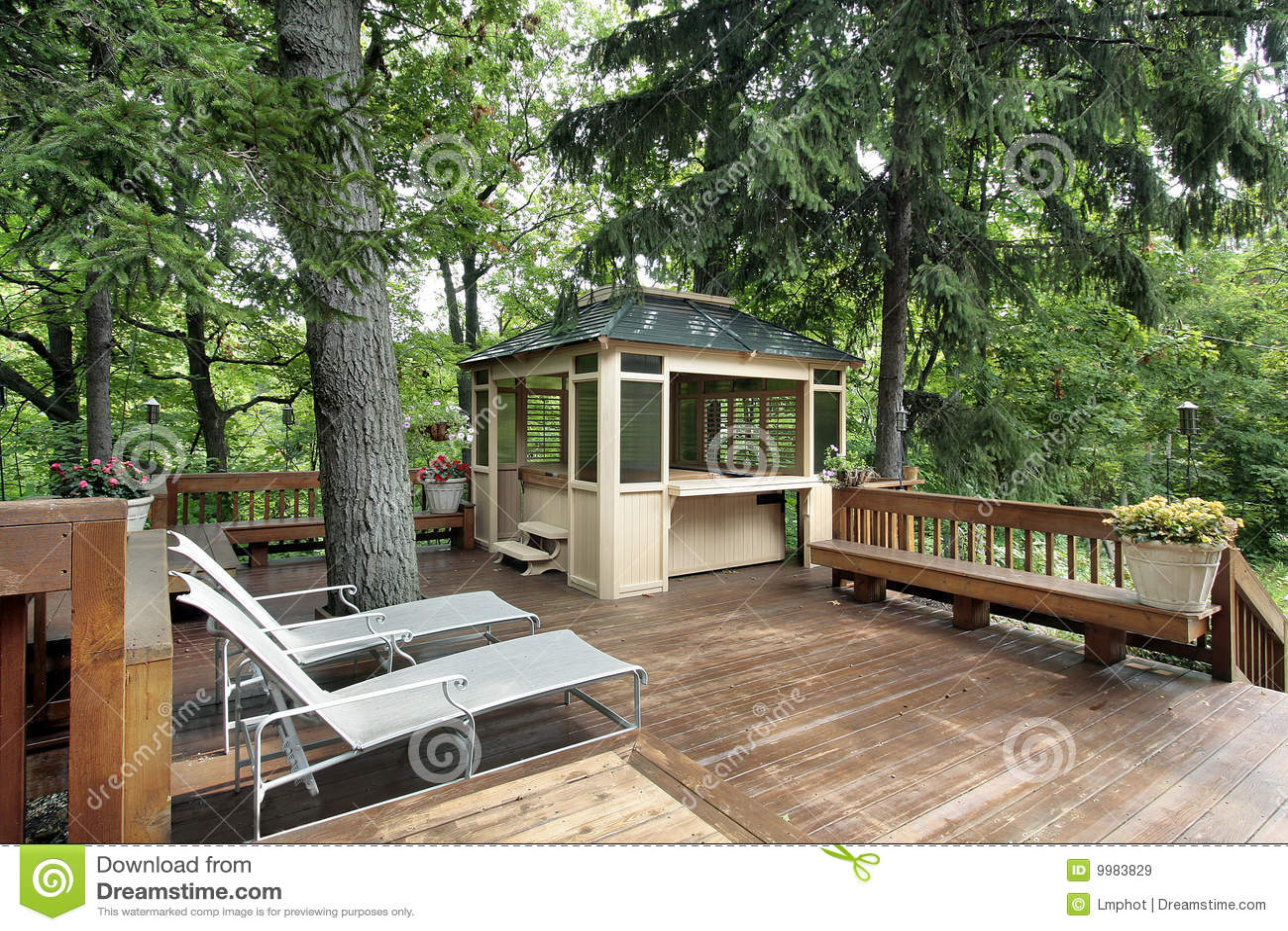 Wood deck in luxury home
