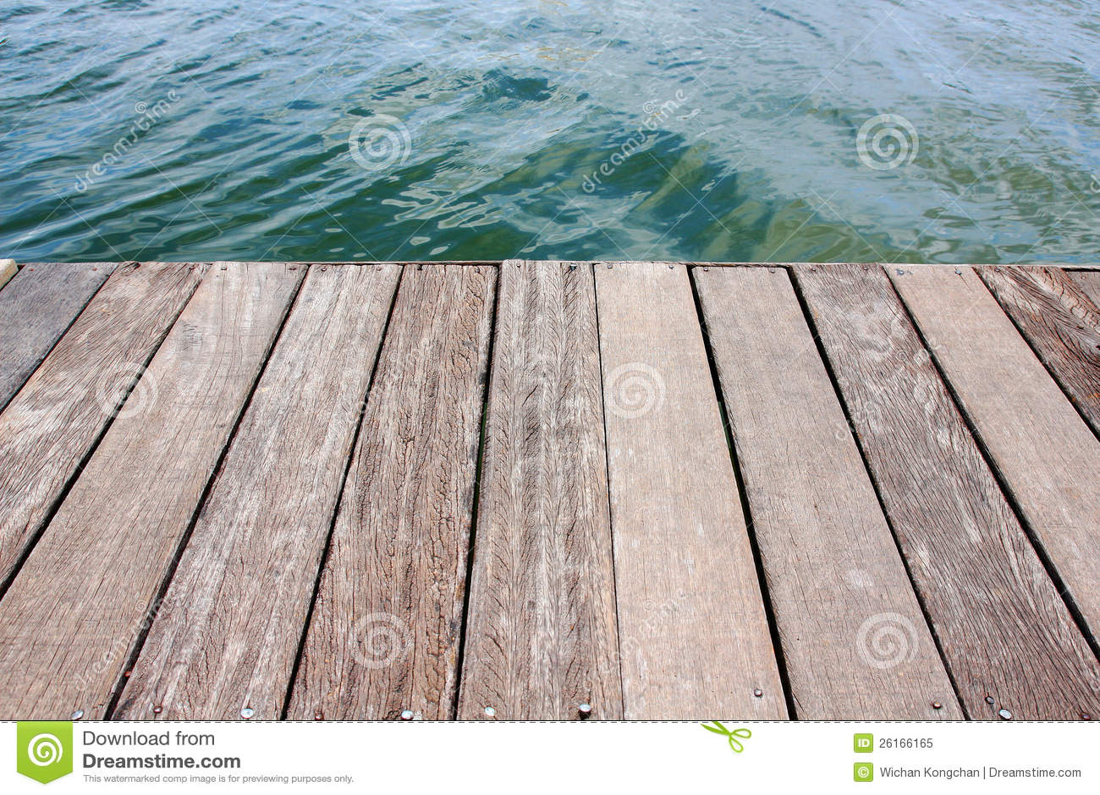 Wood deck near water