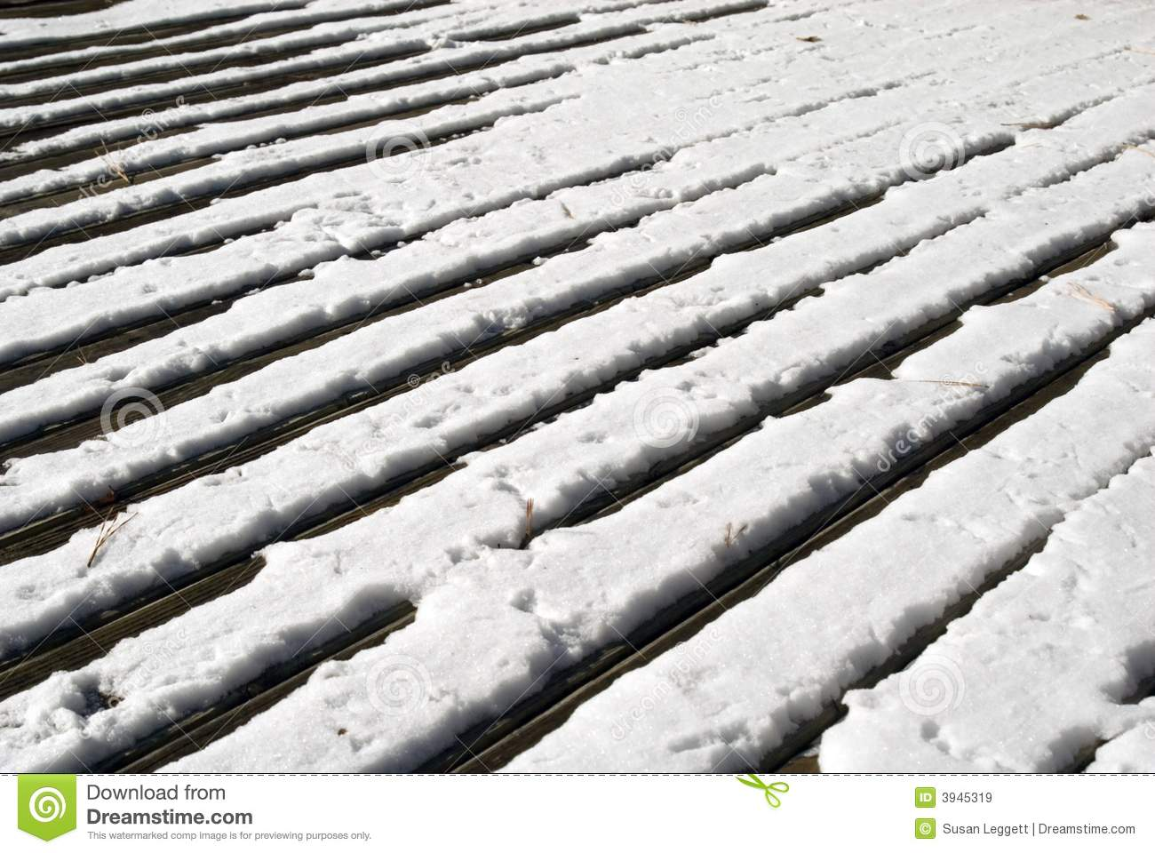 Download Wood deck in snow stock image. Image of december, closeup - 3945319