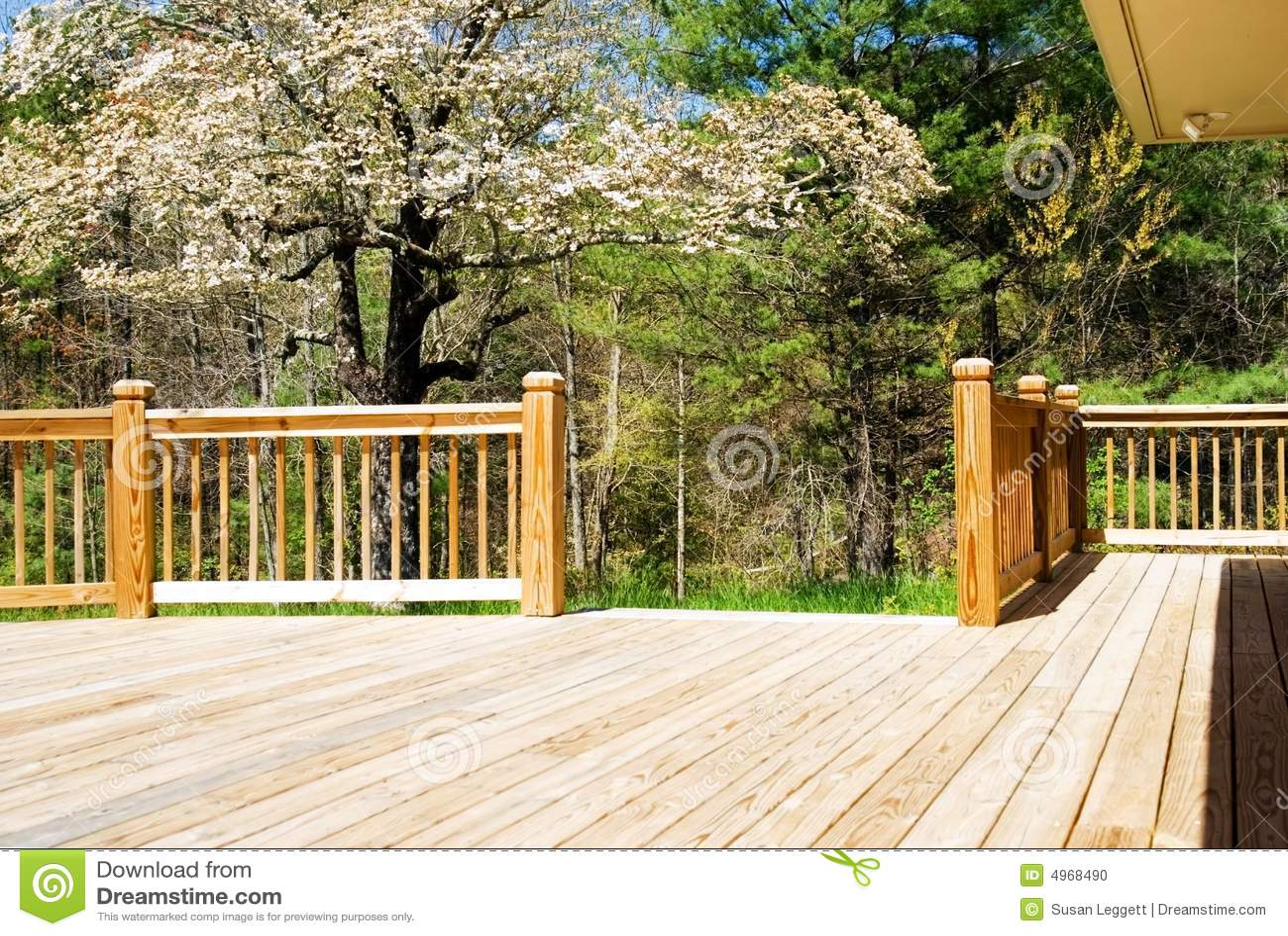 Wood deck in spring/wide