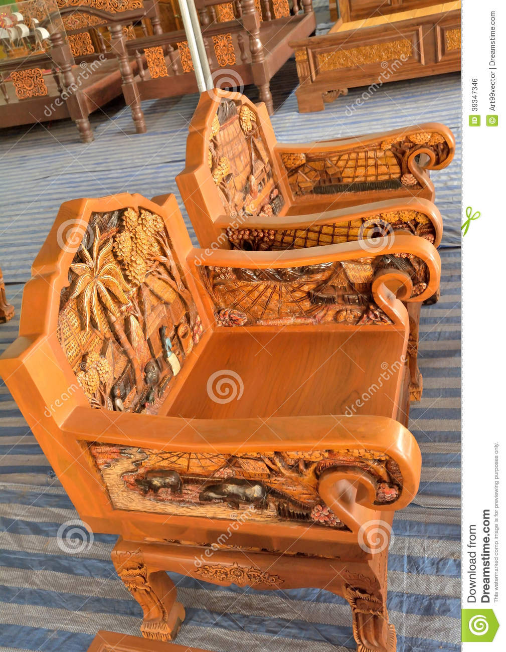 Wood design carved stock photo image of nature export for Furniture design thailand