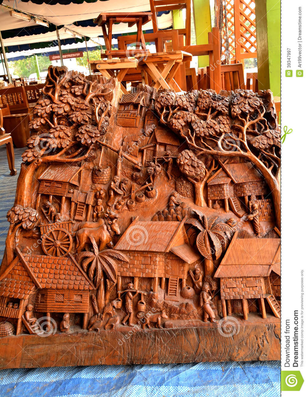 Wood design carved stock image image of bring furniture for Furniture design thailand
