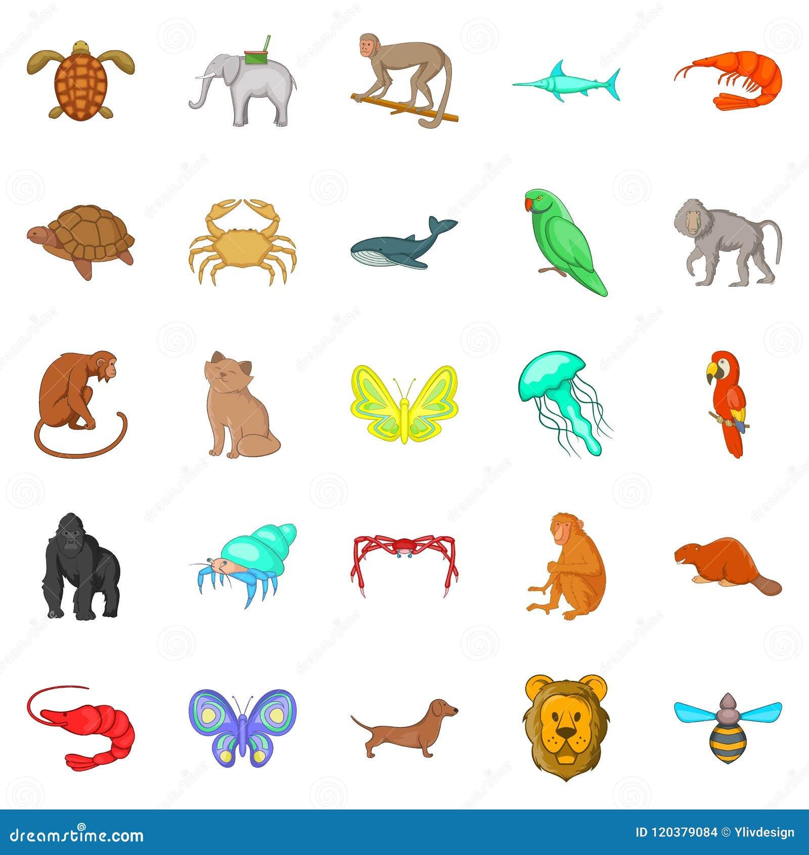 Wood djursymboler uppsättning, tecknad filmstil