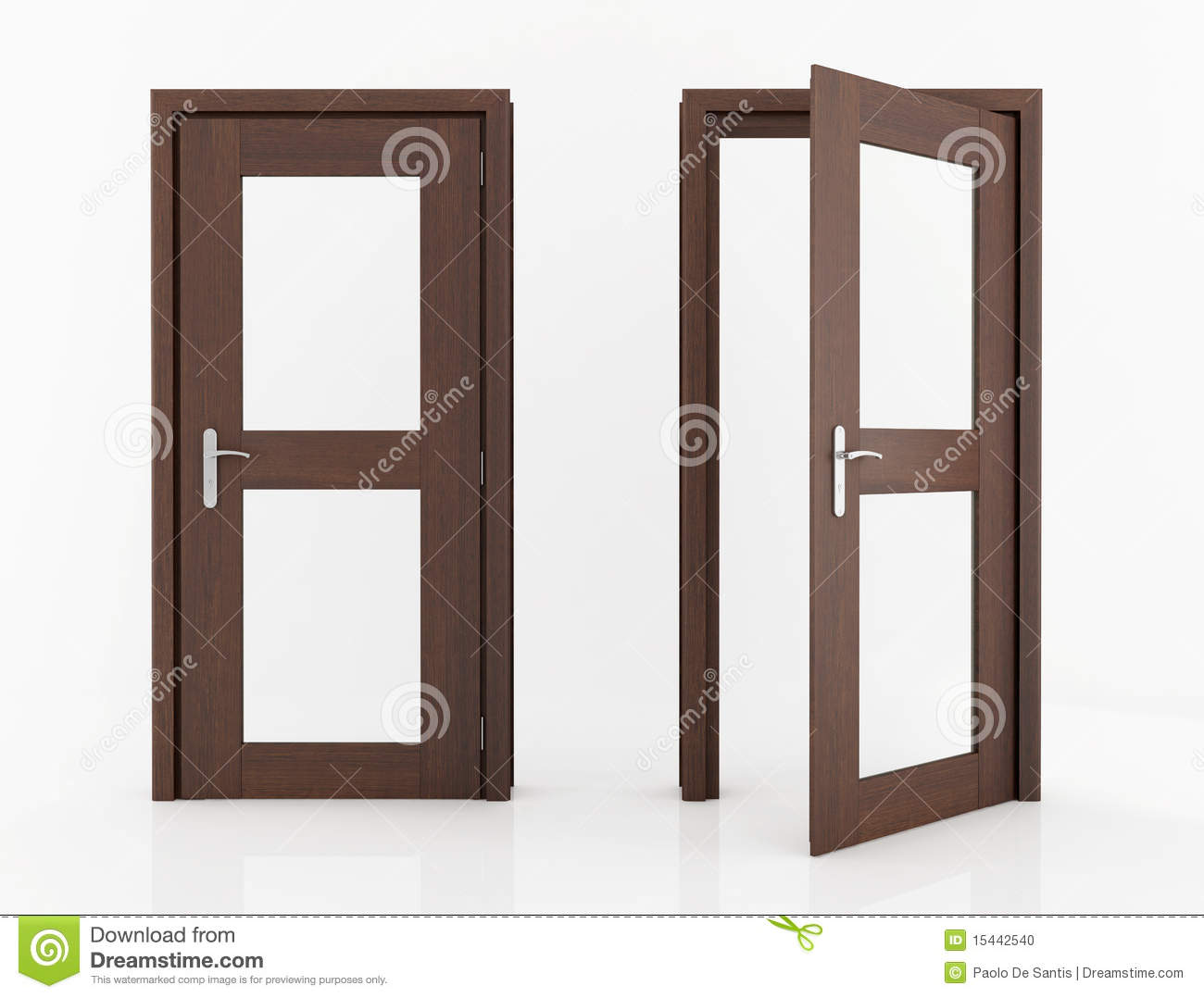 1078 #85A724 Wooden Dark Wood With Glass Isolated On White Rendering. picture/photo Wood And Glass Doors 40191300