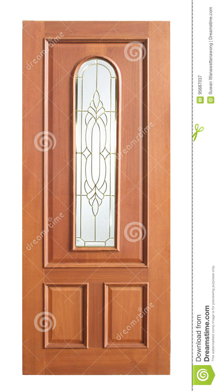 Wood door with glass on white background.