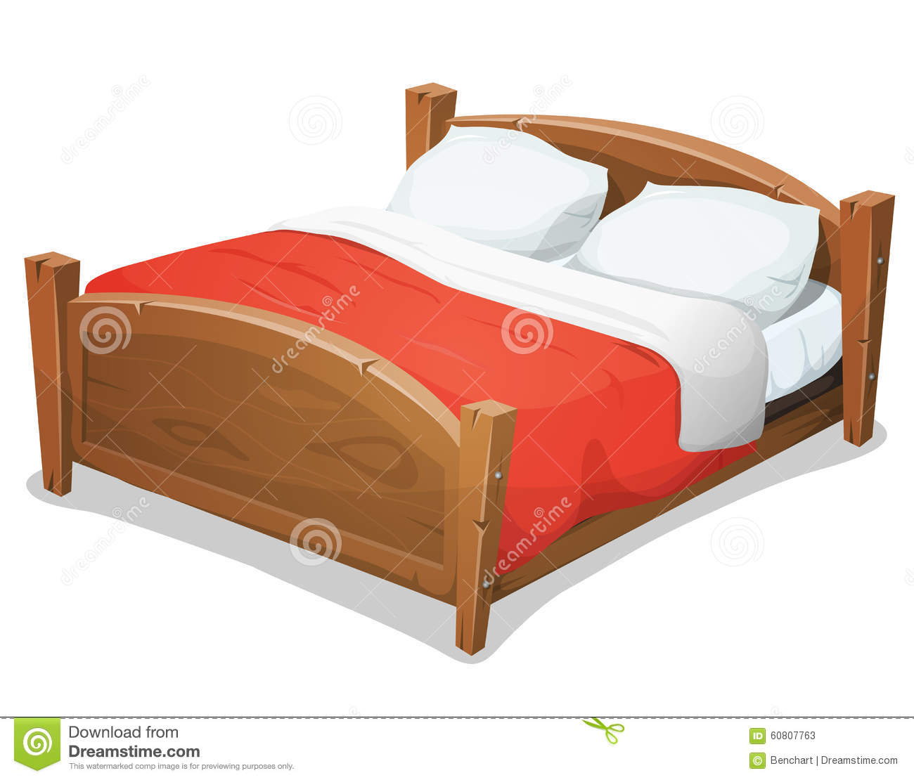 wood double bed with red blanket stock vector image. Black Bedroom Furniture Sets. Home Design Ideas