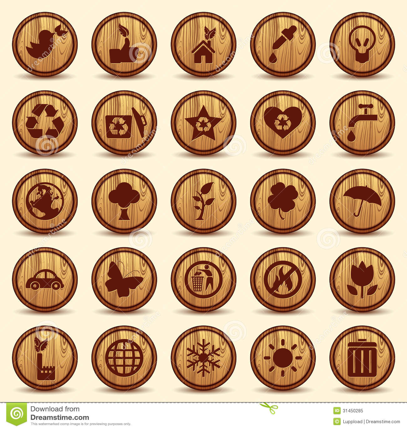 Wood ecology icons set green environment symbols stock vector green environment symbols biocorpaavc