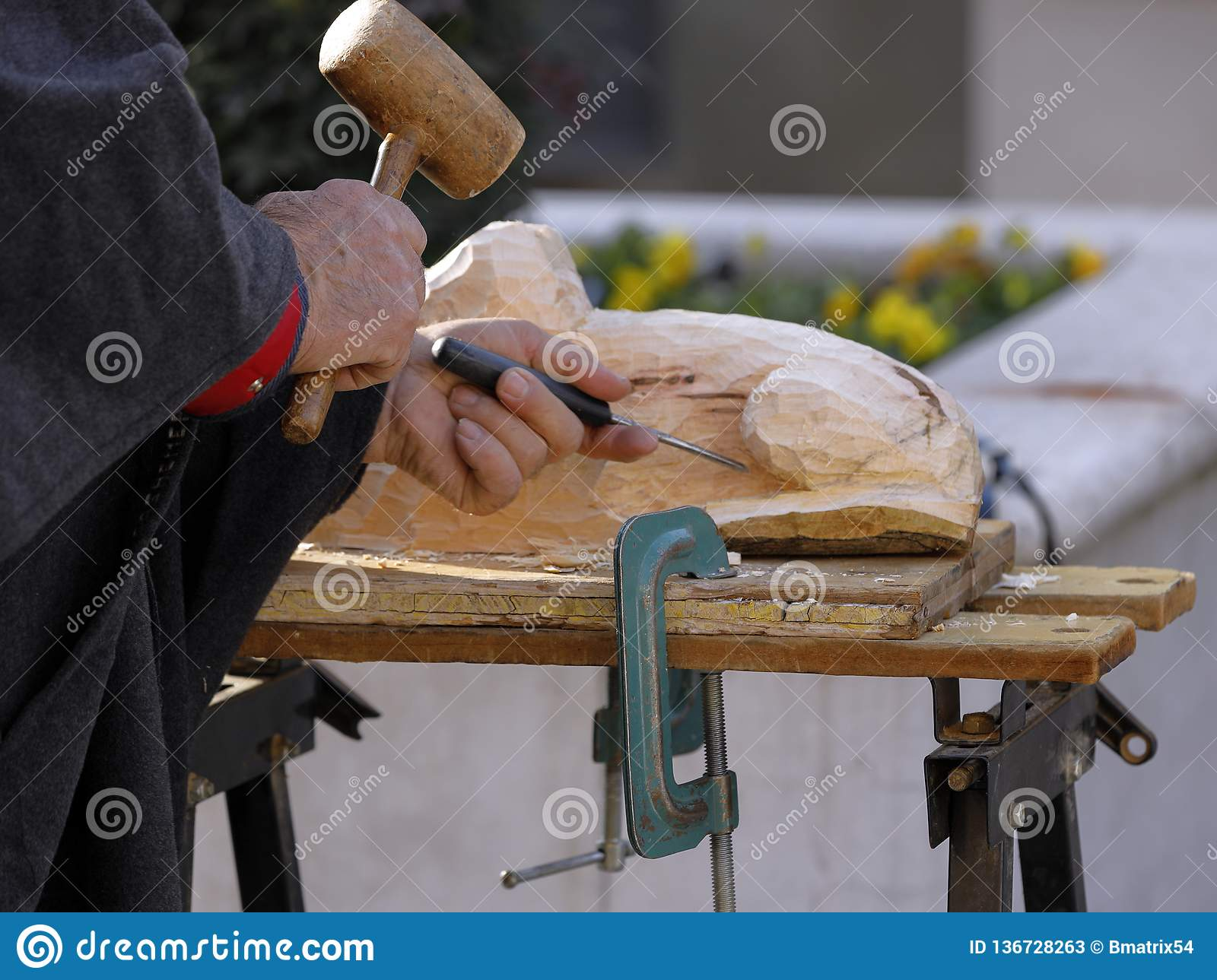 Wood Engraver At Work With Hammer And Chisel Stock Image ...