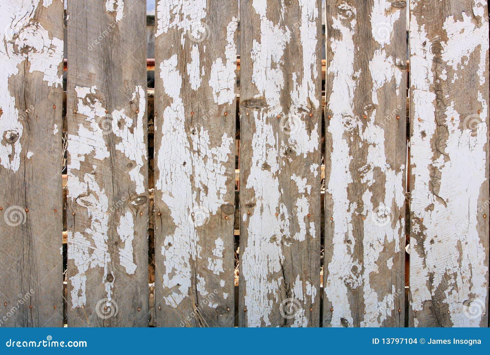 Wood Fence Shiped White Paint Texture Stock Photo Image