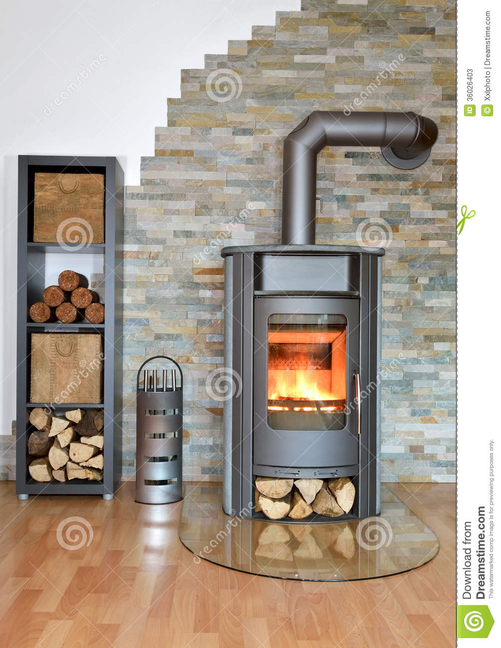 bark fire irons stove wood ... - Wood Fired Stove Stock Photos - Image: 36026403