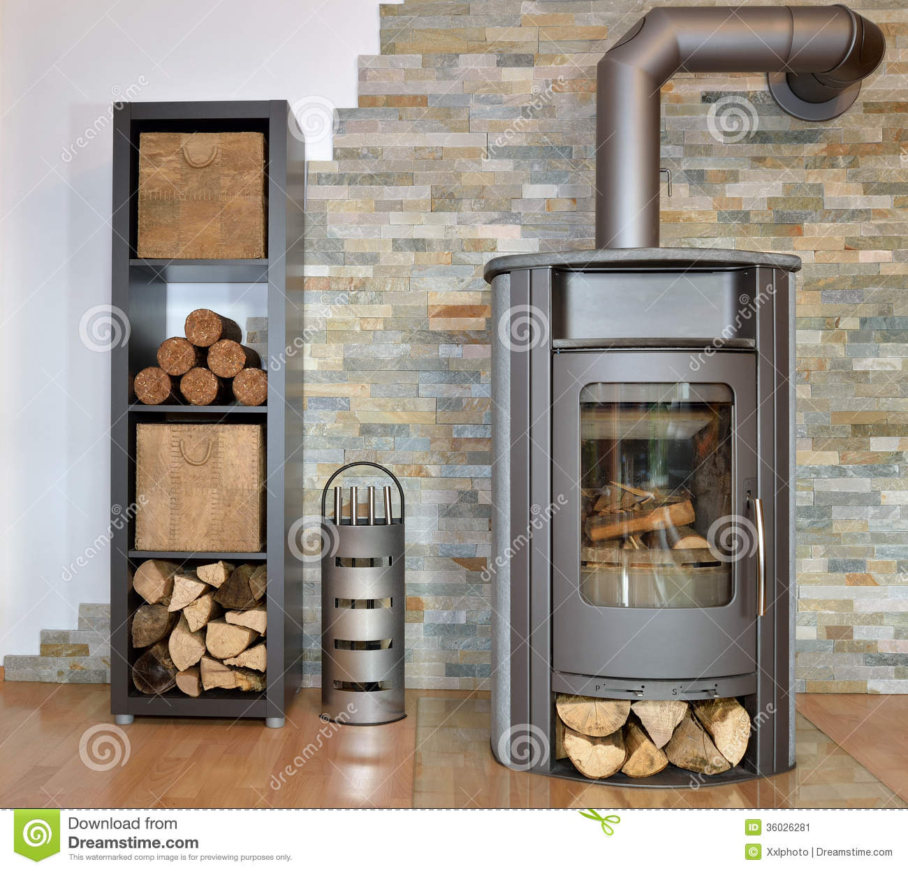 Wood fired stove stock image