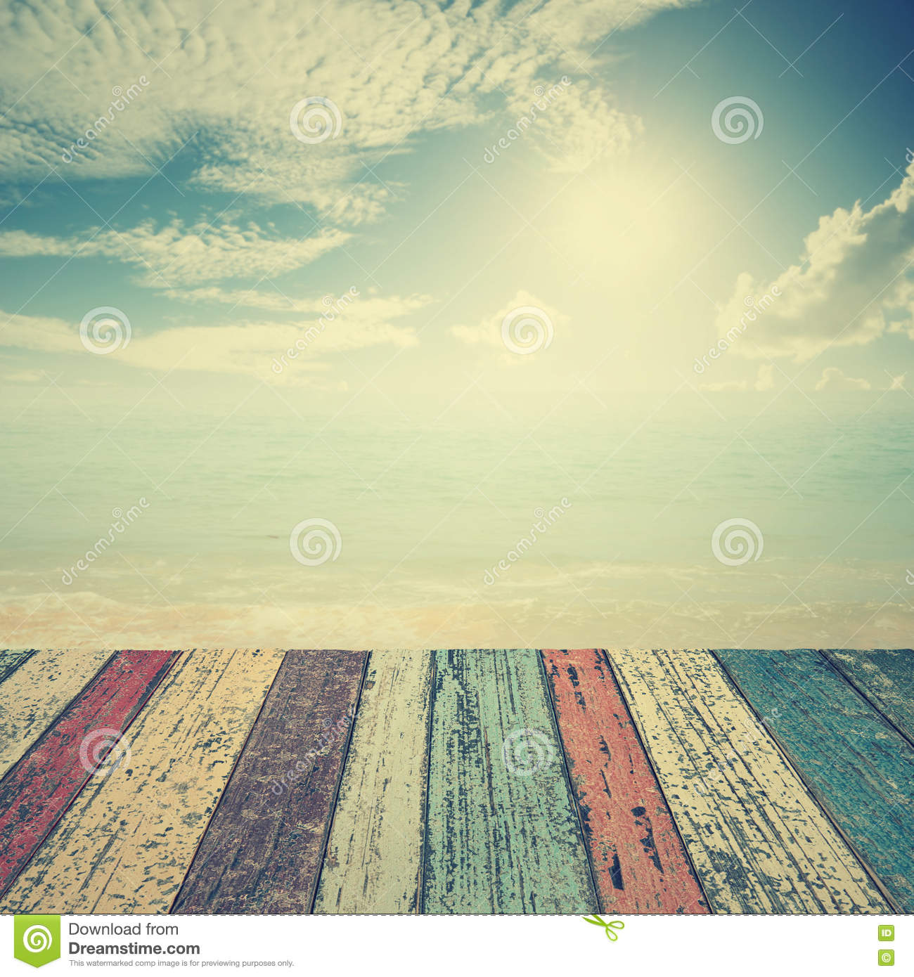 Vintage Beach Background Stock Photo 112981333: Wood Floor On Beach Sea And Blue Sky For Background Stock