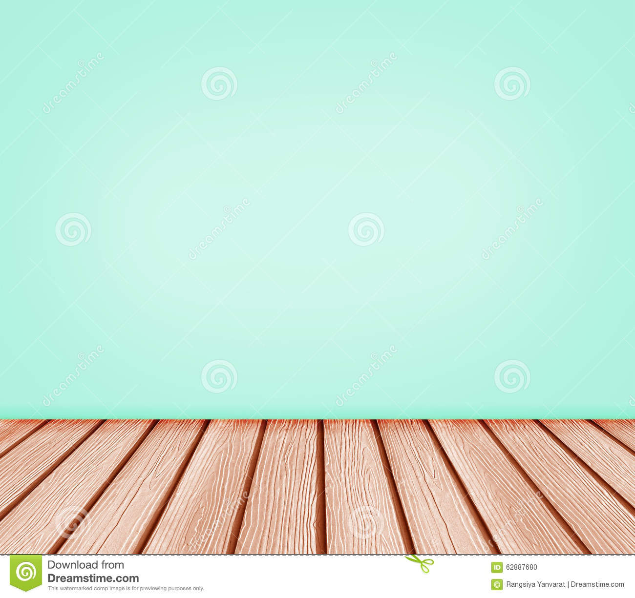 Studio Apartment 3d Floor Plans Wood Floor And Blue Green Wall Background Stock Photo