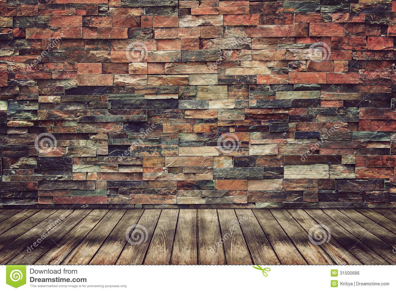 Wood Floor And Brick Wall For Vintage Wallpaper