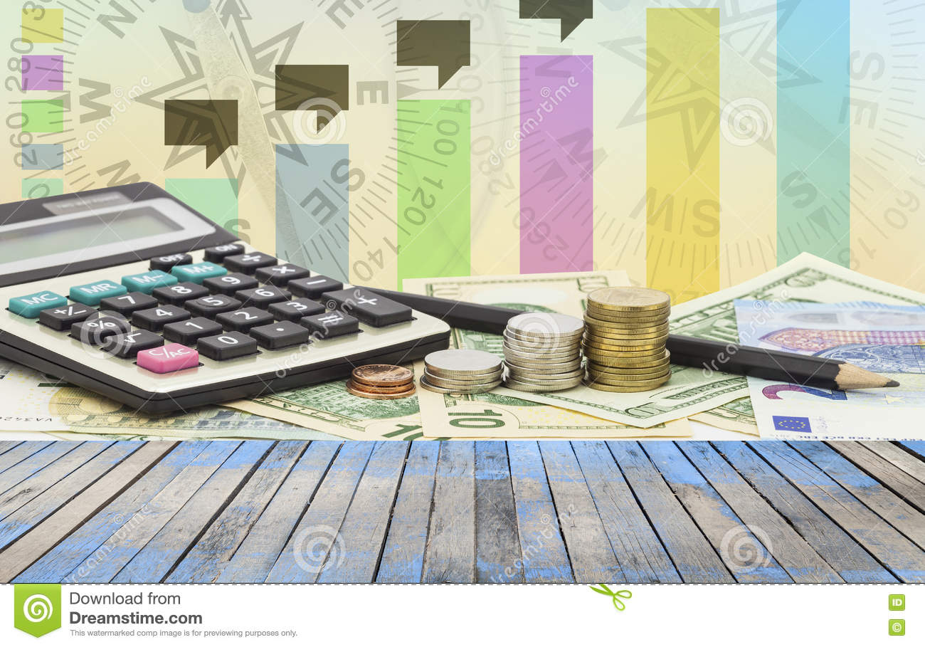 Wood floor on Calculator with coin ,pencil money banknotes Euro - Wood Floor On Calculator With Coin ,pencil Money Banknotes Euro