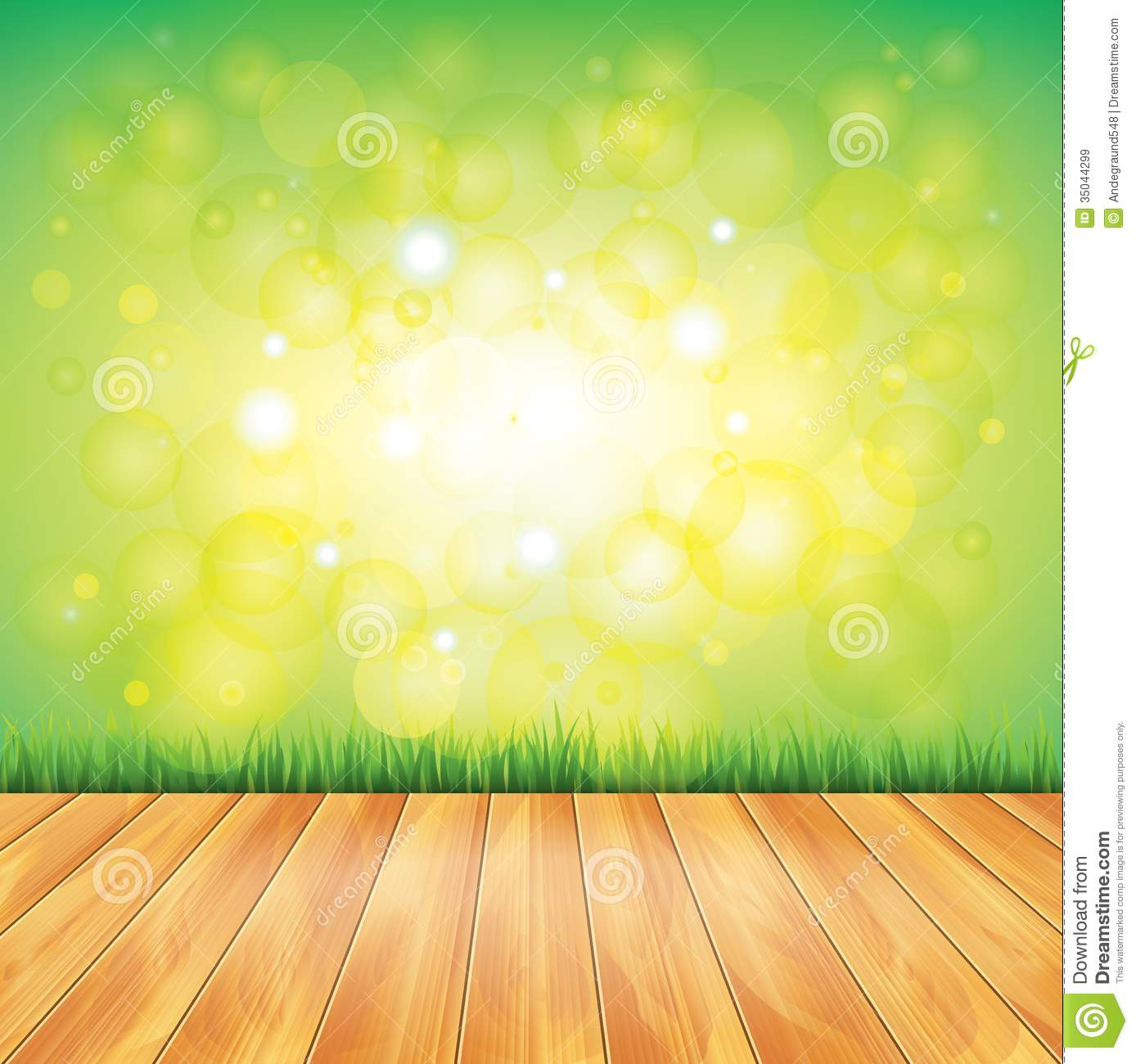 Wood Floor And Green Grass Vector Background Royalty Free