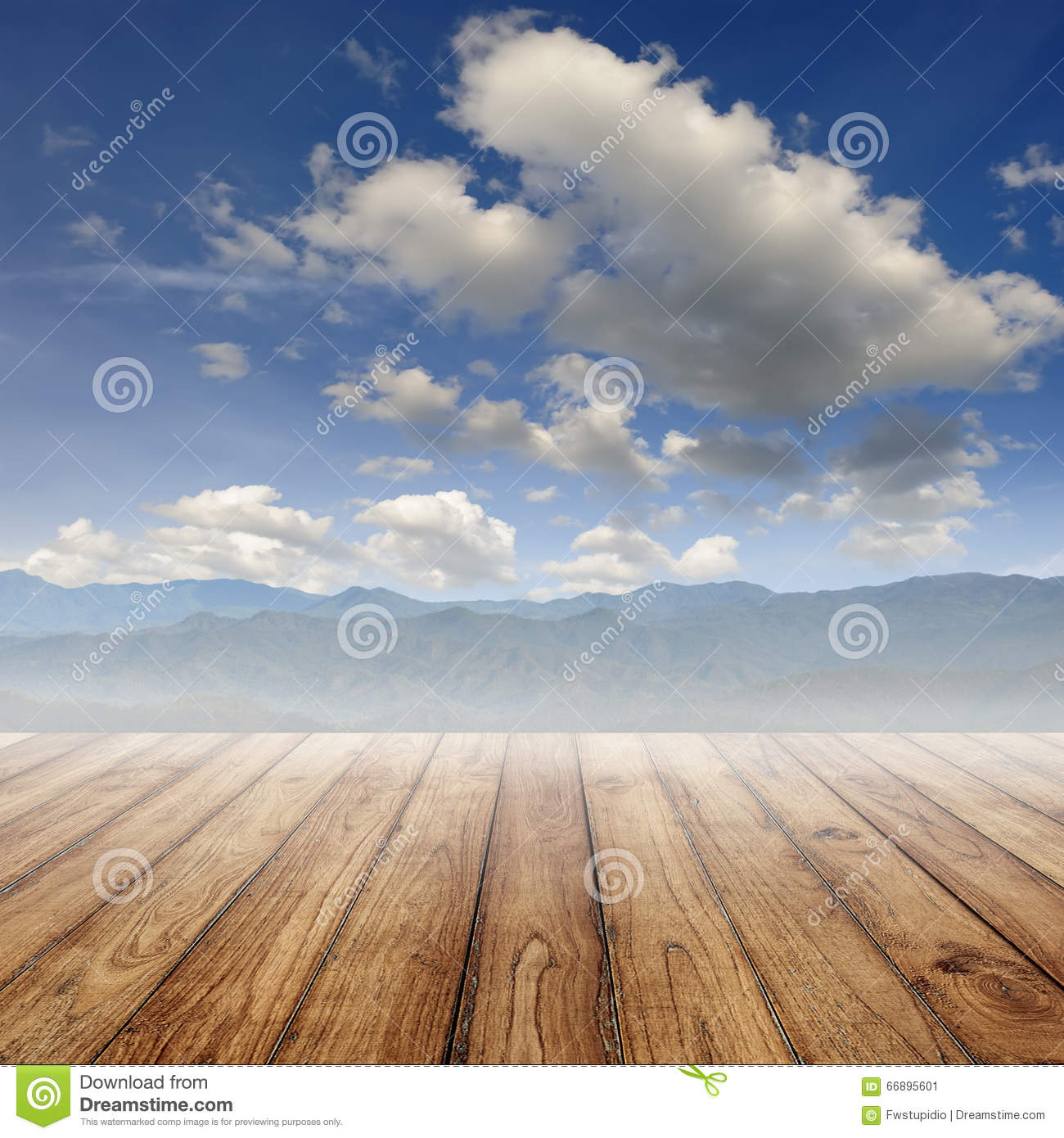 Wood Floor On Beach Sea And Blue Sky For Background Stock: Wood Floor On Beach Sea And Blue Sky For Background