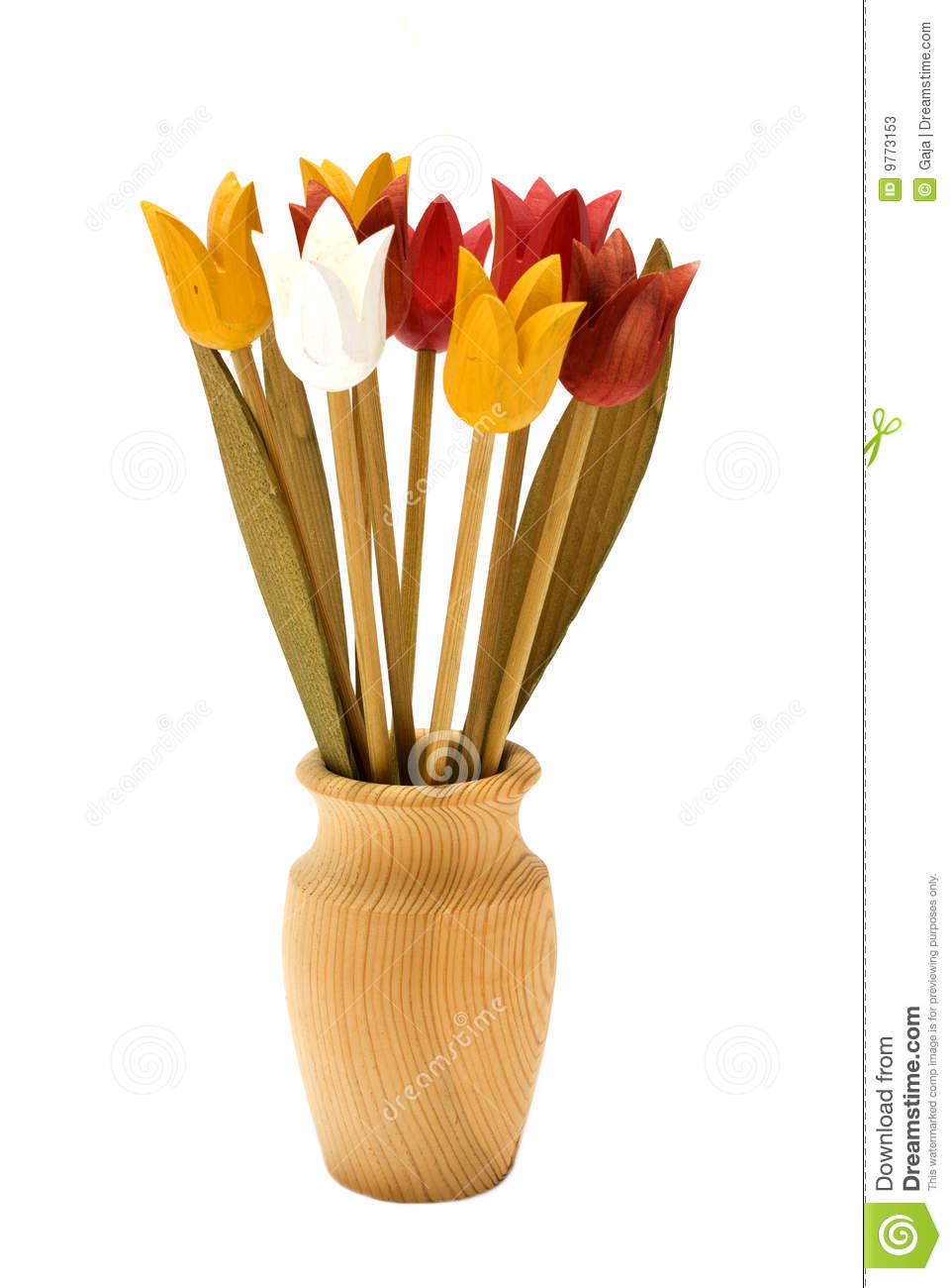 Wood Flowers In A Wooden Vase Stock Image Image Of Ornament Carved 9773153
