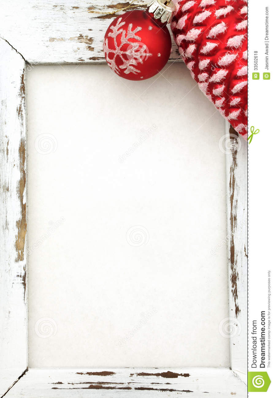 Wood Frame With Christmas Decoration Stock Photo - Image of space ...