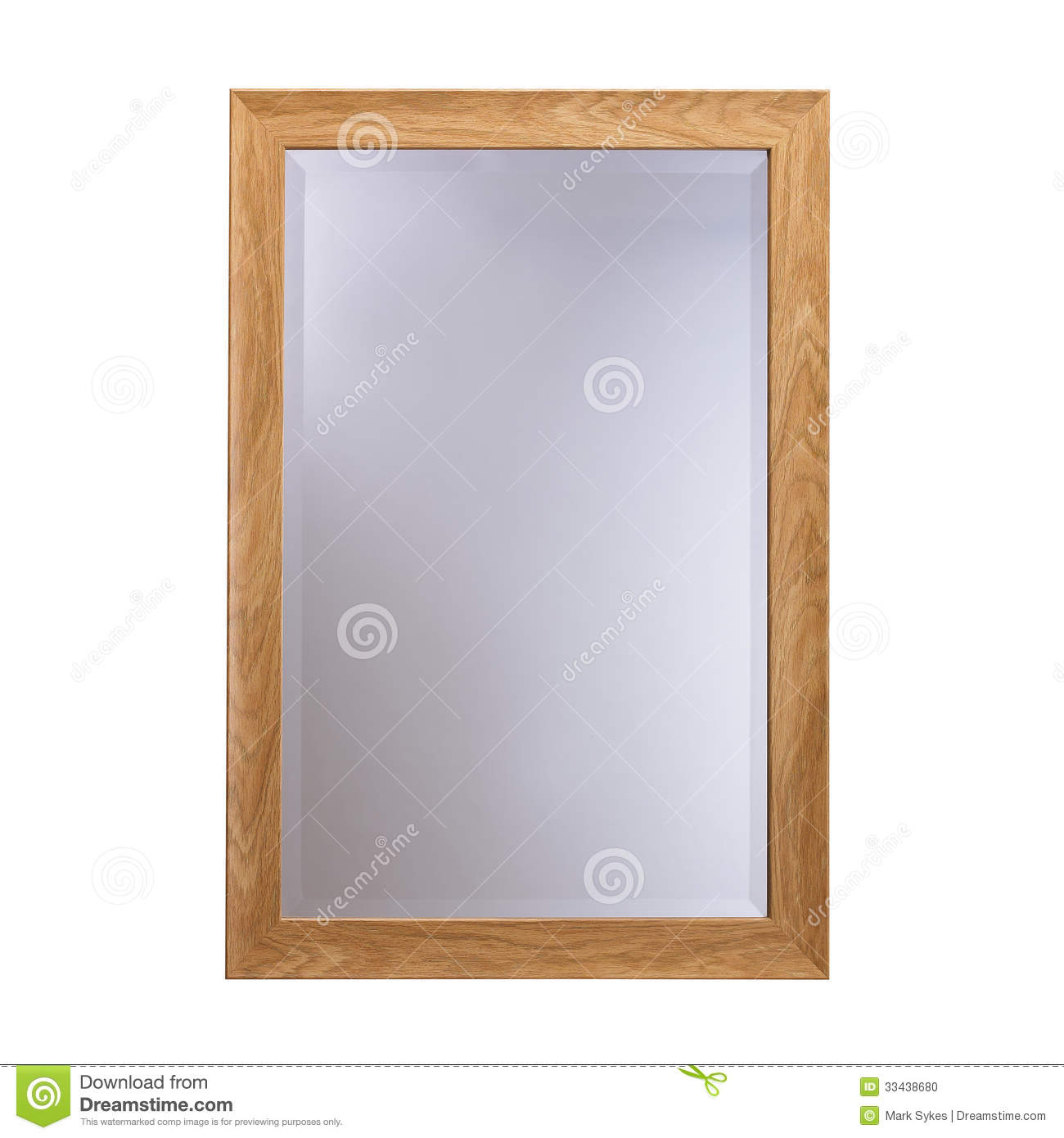 wood frame glass mirror stock photo