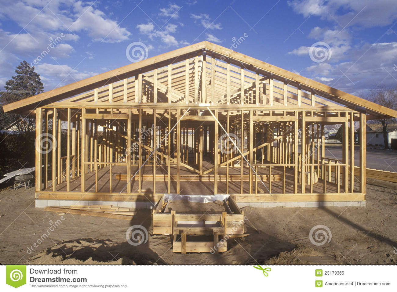 Wood Frame Of House Under Construction Stock Image Image