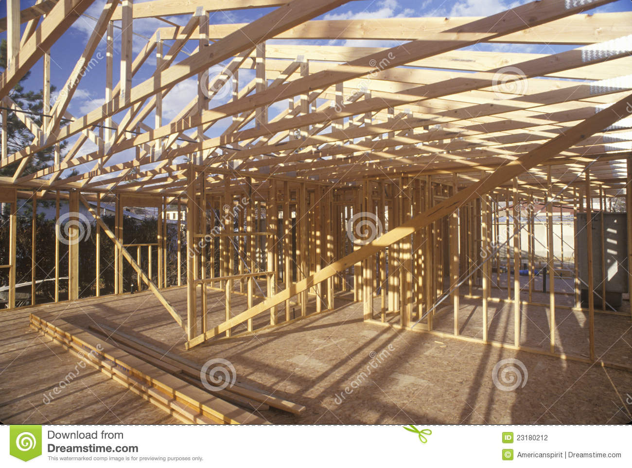 Wood Frame Construction ~ Wood frame of house under construction stock photo image