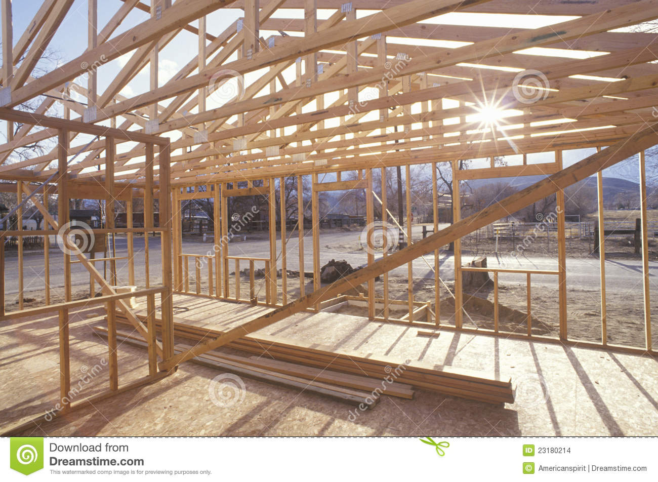 Wood Frame Of House Under Construction Stock Photo Image