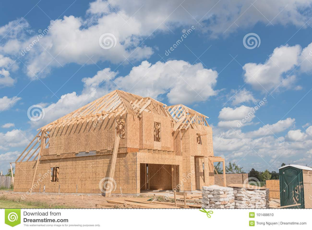 Wooden frame house under construction Pearland, Texas, USA