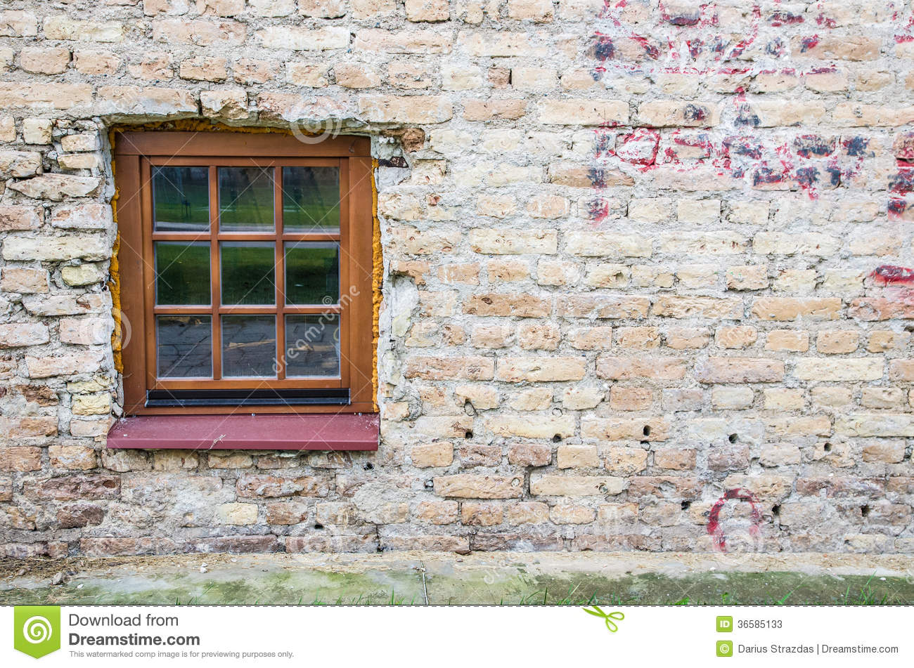 Masonry Building Framed : Wood framed window on old wall stock photos image