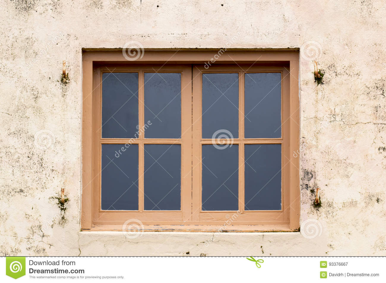 Wood Framed Windows On Plaster Wall Stock Image - Image of outside ...